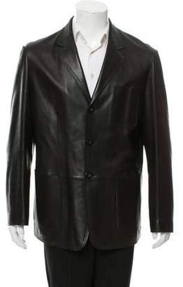 Armani Collezioni Leather Button-Up Jacket
