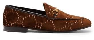 Gucci Jordaan Logo Jacquard Velvet Loafers - Womens - Brown