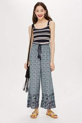 Topshop Ditsy EmbroideredTie Waist Culottes