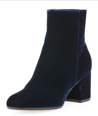 Gianvito Rossi Margaux Mid Bootie Velvet 60mm Block-Heel Ankle Boot