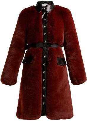Sonia Rykiel Single Breasted Faux Fur Coat - Womens - Burgundy
