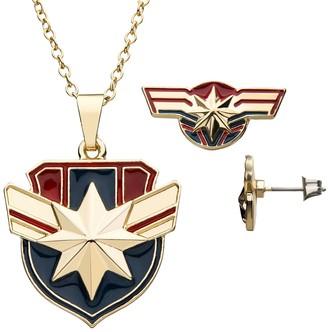 Marvel Captain America Pendant & Earring Set