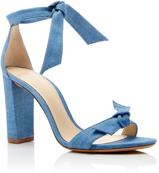 Alexandre Birman Clarita Bow-Embellished Denim Sandals $495 thestylecure.com