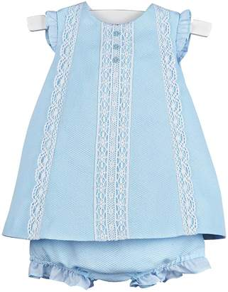 Luli & Me Blue-Pique Lace-Dress & Bloomers