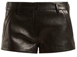 Saint Laurent Leather Hot Pants - Womens - Black
