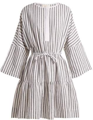 Wiggy Kit - Drawstring Cotton Flax Mini Dress - Womens - Black Stripe