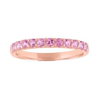 FINE JEWELRY Modern Bride Gemstone Womens Genuine Pink Sapphire 10K Rose Gold Stackable Ring