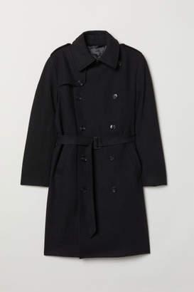 H&M Wool-blend Trenchcoat - Black
