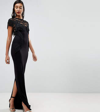 Asos Tall TALL Lace Maxi Dress with Fringing