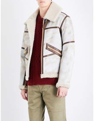 Schott Funnel neck shearling aviator jacket