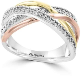 Effy Women's Final Call Diamond, 14K White, Yellow & Rose Gold Ring - Tri-tone Gold, Size 7