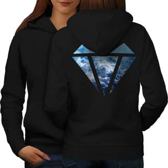 Wellcoda Abstract Diamond Womens Hoodie, Elegant Design on The Back Side S