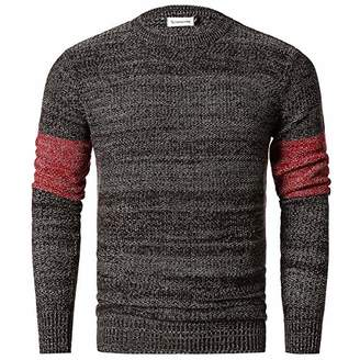 Chain Stitch Men's Coarse Gauge Knitted Pullover Crew Neck Sweater