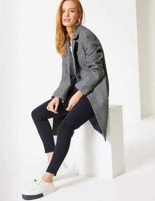 Marks and Spencer PETITE Wool Blend Checked Coat