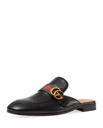 Gucci Princetown Leather Slipper with Double G, Black $670 thestylecure.com