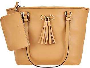 C. WonderC. Wonder Pebble Leather Open Tote Handbag with Pouch