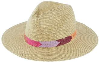 Accessorize Raffia Embroidered Chevron Fedora - Natural