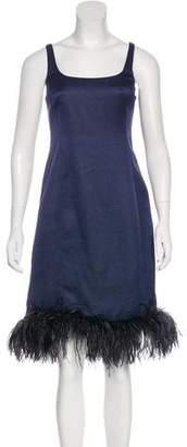 Armani Collezioni Feather-Trimmed Jacquard Dress Dress
