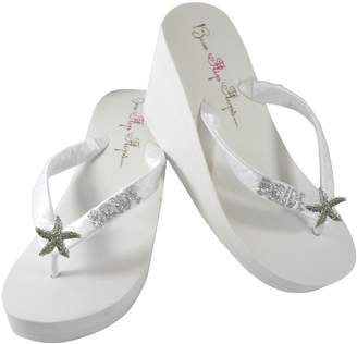 6ad1de0c7 Bow Flip Flops White 2 inch Starfish Glitter Wedding Flip Flops for The  Bride Wedge Bridal