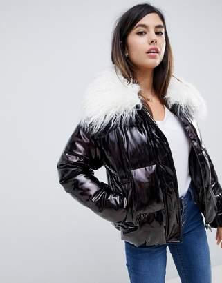 Asos DESIGN metallic mongolian faux fur padded jacket