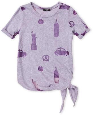 Zara Terez Girls 7-16) Purple Burnout Tie-Front Tee