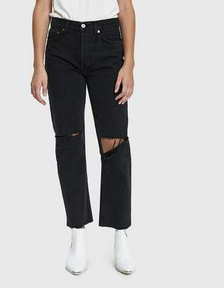 RE/DONE High Rise Stove Pipe Jean in Washed Black