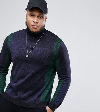 Asos Design PLUS Metallic Yarn Half Zip Jumper With Colourblocking In Green & Navy