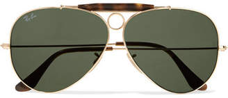 Ray-Ban Aviator Gold-tone And Tortoiseshell Acetate Sunglasses - one size