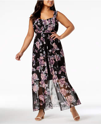 Connected Plus Size Printed Chiffon Split Maxi Dress