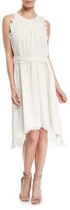 Halston Self-Tie High-Low Sleeveless Dress