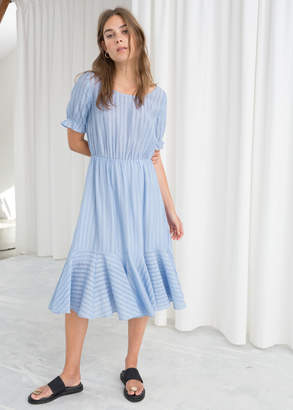 And other stories Ribbon Stripe Midi Dress