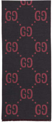 Gucci Grey and Pink Jacquard Wool GG Scarf