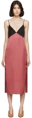 Marina Moscone Pink and Black Heavy Satin Slip Dress