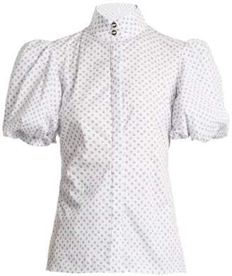 Caroline Constas Daisy Micro Floral Print Cotton Blend Shirt - Womens - White/blue