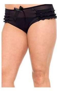 Leg Avenue Women's Plus Size Mesh Ruffle Tanga With Satin Bow Accent, Black, 1X