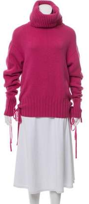 Alexander McQueen Lace-up Cowl Neck Sweater Pink Lace-up Cowl Neck Sweater