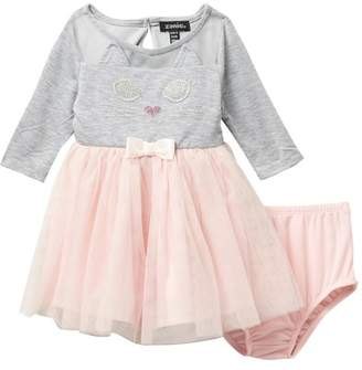 78f6961260 Zunie 3 u002F4 Length Sleeve Knit Mesh Tutu Dress (Baby Girls)