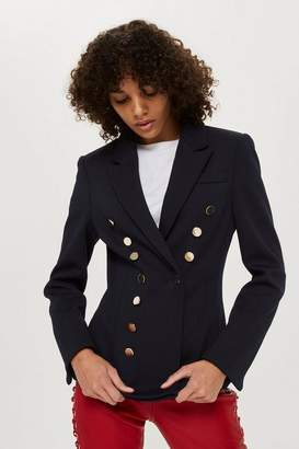 Topshop Gold Button Double Breasted Jacket