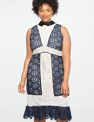 Studio Mixed Lace Fit and Flare Dress