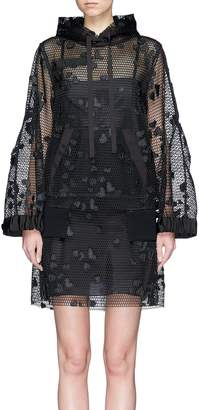 Sacai Heart motif mesh dress