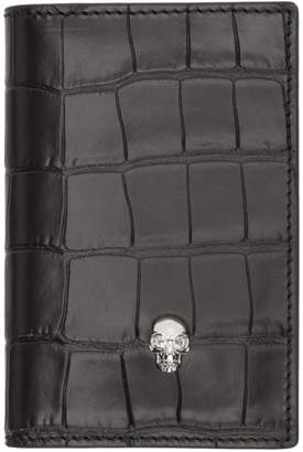 Alexander McQueen Black Croc Skull Pocket Organizer Card Holder