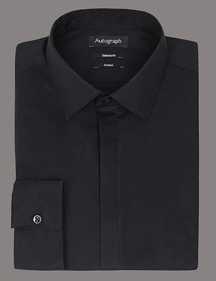 Marks and Spencer Cotton Rich Tailored Fit Shirt