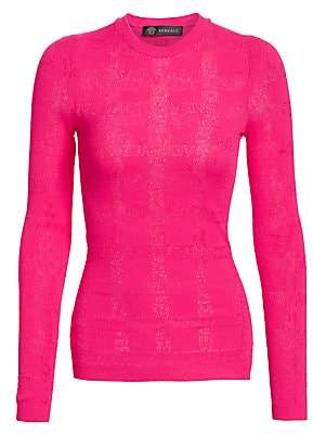 Versace Women's Perforated Logo Stretch Knit Sweater