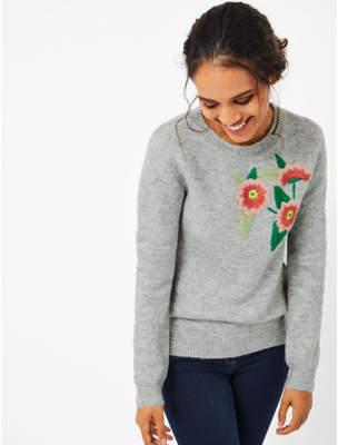 George Light Grey Embroidered Flower Jumper