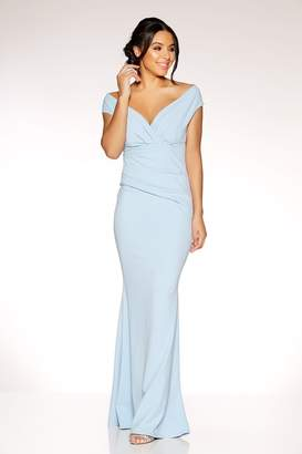 Quiz Powder Blue Crepe Bardot Wrap Front Fishtail Maxi Dress