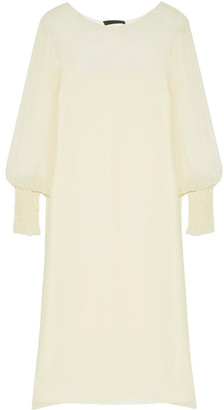 The Row - Maver Silk-gerogette Midi Dress - Cream $1,890 thestylecure.com