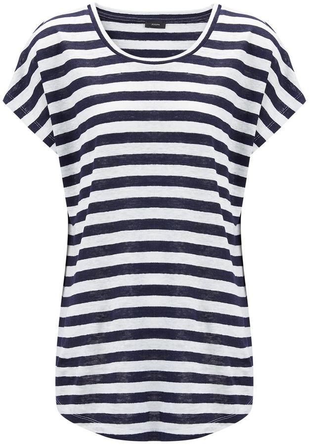 Linen Stripe Tee in Navy