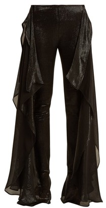 Paula Knorr - Relief High Rise Ruffled Silk Blend Lame Trousers - Womens - Black