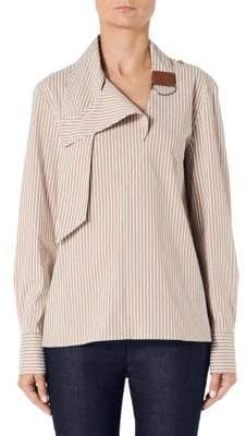 Tibi Kaia Striped Asymmetric Collared Shirt