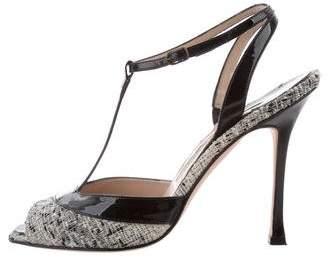 Manolo Blahnik Tweed T-Strap Sandals